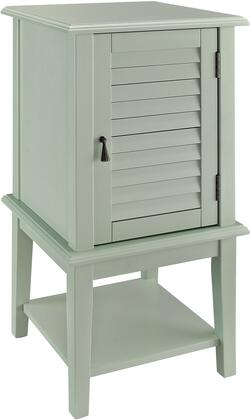 "Powell Hatteras Collection 16"" Accent Table with 1 Shutter Door, 2 Shelves, Tapered Legs, Metal Hardware, Solid Wood Construction and Medium-Density Fiberboard (MDF) in"