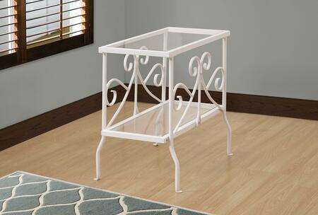 """Monarch I310X 24"""" Accent Table with Tempered Glass Top, Two Tiered and Scroll Inspired Accents"""