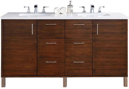 "James Martin Metropolitan Collection 850-V60D-AWT- 60"" American Walnut Double Vanity with Two Soft Close Doors, Six Soft Close Drawers, Chrome Hardware and"