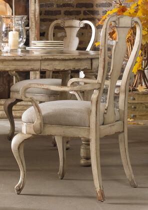 "Hooker Furniture Wakefield Series 5004-754 40"" Casual-Style Dining Room Splatback Chair with Cabriole Legs, Distressed Detailing and Fabric Upholstery in White (Sold in 2 Chairs per Order/Priced Individually)"
