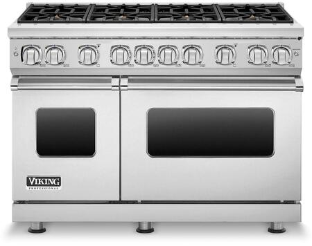 "Viking Professional 7 Series VGR7488B 48"" Wide 24"" Deep Natural Gas Range with 8 Elevation Open Burners, SureSpark Ignition System, VariSimmer Setting, 4.0 Cu. Ft. Convection Oven in"