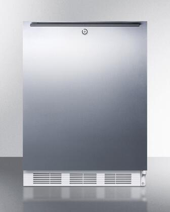 """AccuCold ALB651LSSXX 24"""" ADA Compliant Dual Evaporator Undercounter Refrigerator with 5.1 cu. ft. Capacity, Cycle Defrost, Adjustable Thermostat, 2 Wire Shelves, and Lock: Stainless Steel"""