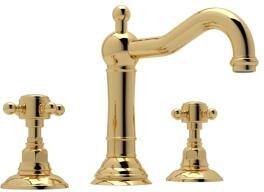 Rohl A1409XM Italian Country Bath Collection Acqui Deck Mounted Column Spout Lavatory Faucet with 1.2 GPM Water Flow and Cross Handles in