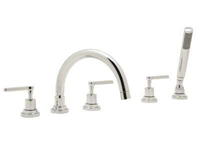 Rohl A2214LM Modern Bath Collection Lombardia 5 Holes Deck Mount Bath Mixer with C Spout and Metal Levers: