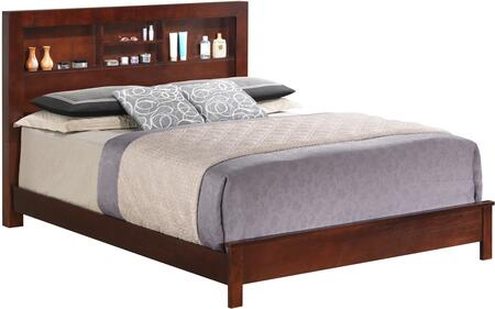 Glory Furniture Panel Bed with Open Storage Headboard and Wood Construction in Cherry Finish