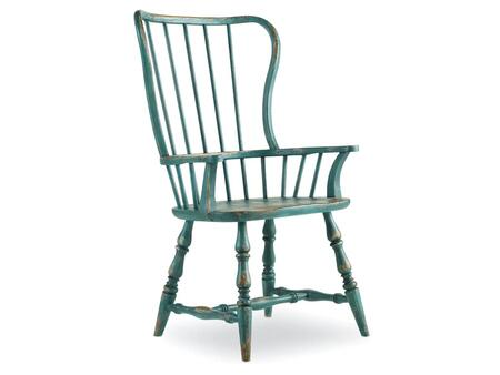 "Hooker Furniture Sanctuary Series 5405-753 43.25"" Casual-Style Dining Room Spindle Chair with Turned Legs, Stretchers and Distressed Detailing with Sky High Azure Blue"