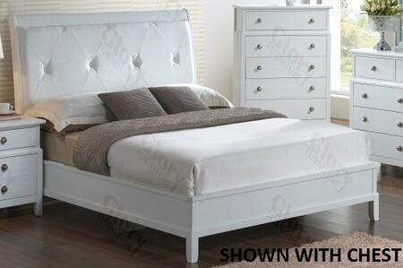 Glory Furniture G1175A Bed with Padded and Tufted headboard and Faux Leather Insert in White