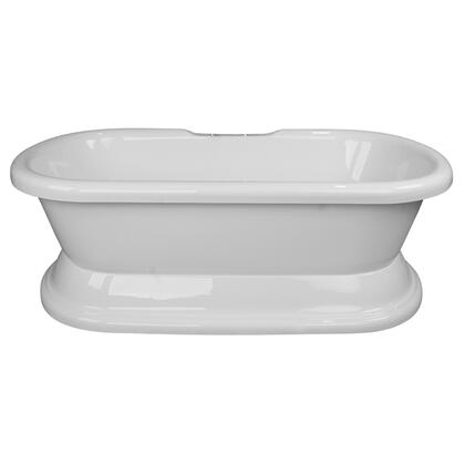 "Barclay ATDR60B Brussels 60"" Acrylic Double Roll Top Soaking Tub, with White Tub Finish, No Overflow, with Moulded Pedestal Base in White Finish,"