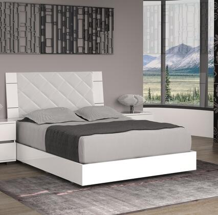 Casabianca Diamanti Collection Panel Bed with High Headboard, Low Profile, Light Grey Fabric Upholstery, Stainless Steel and High Gloss Lacquer in White Finish