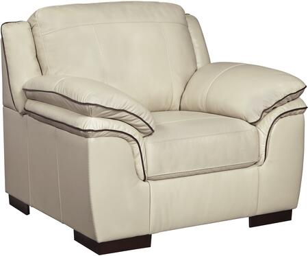 Signature Design by Ashley 1520420 Islebrook Series Leather Armchair with Wood Frame in Vanilla