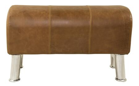 "Authentic Models MF14X Pommel Bench, 14.25"" with Aluminum & Leather Material, in Silver/Polished & brown leather"