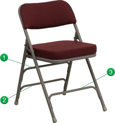 "Flash Furniture HERCULES Series HA-MC320AF-XX-GG 18.75"" Premium Curved Triple Braced & Quad Hinged Fabric Upholstered Metal Folding Chair with 2.5"" Thick Foam Padded Seat and Non-Marring Glides"