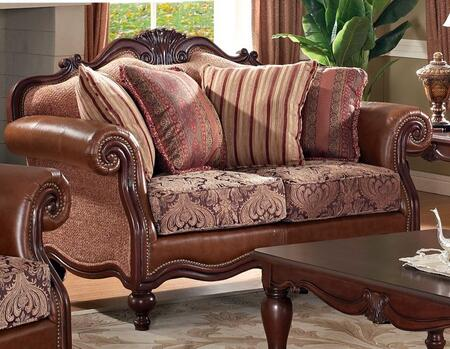 Meridian 609L Fabric  with Wood Frame Loveseat