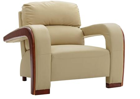 "Glory Furniture 39"" Armchair with Wood Trim on Arms, Split Back Cushion, Removable Arms and Faux Leather Upholstery in"