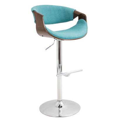 """LumiSource Curvo BS-CURVO WL 34"""" - 42"""" Barstool with Adjustable Height, 360 Degree Swivel and Polyester Upholstery in"""