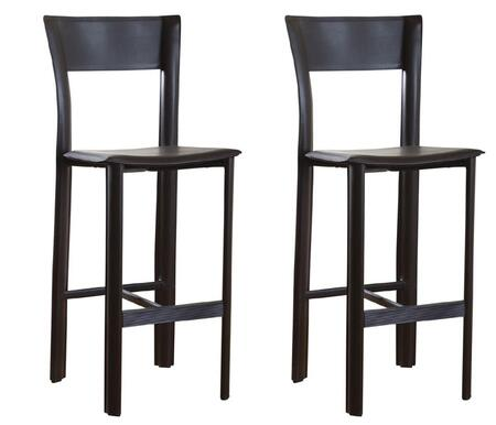 American Heritage Alto Series 1XX752ML-L11 Contemporary Stool With Metal Frame Wrapped in Merlot Leather (Set of 2)