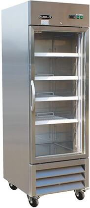 """Kool-It KBxxRG Reach-In Bottom Mounted Glass Door Refrigerator with Adjustable Heavy-duty Epoxy Coated Wire Shelves, 430 Stainless Steel Exterior, 304 Stainless Steel Interior, and 4"""" Casters, in Stainless Steel"""