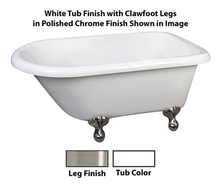 "Barclay ATR55 Alicia, 55"" Acrylic Roll Top Clawfoot Tub, White Finish, Overflow, Faucet Mount, Clawfoot Finish"