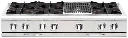 """Capital Culinarian Series CGRT484B2-X 48"""" Restaurant Style X Range Top with 6 Burners, a 12"""" BBQ Grill, EZ-Glides Drip Trays, and Auto-Ignition/Re-Ignition, in Stainless Steel"""