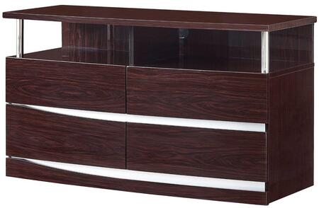 """Global Furniture USA Aurora Collection AURORA-ENTERTAINMENTUNIT 47"""" Entertainment Unit with 2 Open Compartments, 4 Drawers, Glossy Finish, Accent Support Pillars and Slits in"""