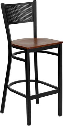 "Flash Furniture HERCULES Series XU-DG-60116-GRD-BAR-XXW-GG 28.5"" Heavy Duty Grid Back Metal Restaurant Bar Stool with Wood Seat, Commercial Design, 18 Gauge Steel Frame, and Plastic Floor Glides"