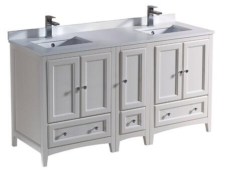 "Fresca FCB20241224 Oxford 60"" Traditional Double Sink Bathroom Cabinets with Top and Sink"