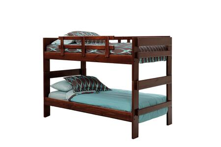 Chelsea Home Furniture 362602X Twin Over Twin Stacking Bunk Bed, with Pine Construction, Rustic Style, and Stain Finished in Dark
