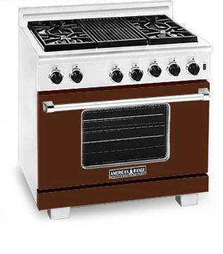 American Range ARR366HB Heritage Classic Series Natural Gas Freestanding Range with Sealed Burner Cooktop, 5.6 cu. ft. Primary Oven Capacity, in Brown