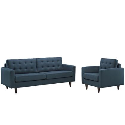 Modway EEI-1313 Empress Armchair and Sofa Set of 2 with Modern Design, Solid Wooden Legs, Glides, Deeply Tufted Buttons and Fine Fabric Upholstery