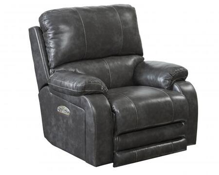"""Catnapper Thornton Collection 42"""" Lay Flat Recliner with Power Headrest, Contrast Luggage Stitching, Comfort Coil Seating and Padded Polyurethane Faux Leather Fabric Upholstery"""