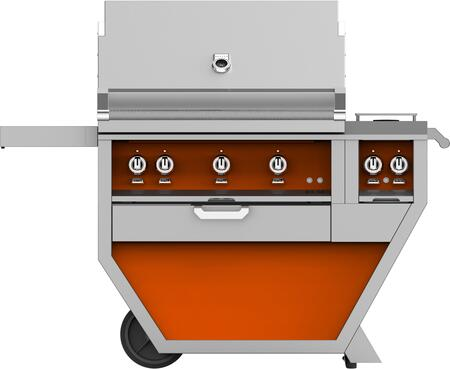 Deluxe Cart with Side Burner   Orange Finish