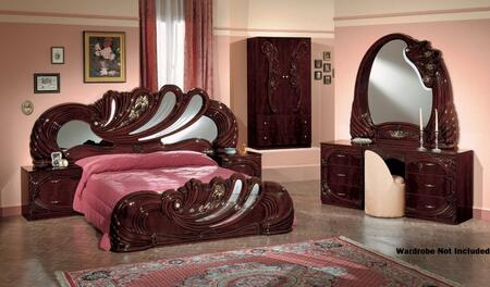 VIG Furniture VGACCVANITYWAL Modrest Vanity Italian Classic Bedroom Set includes 2 Nightstands, Bed, Dresser, Mirror and Made in Italy in Mahogany