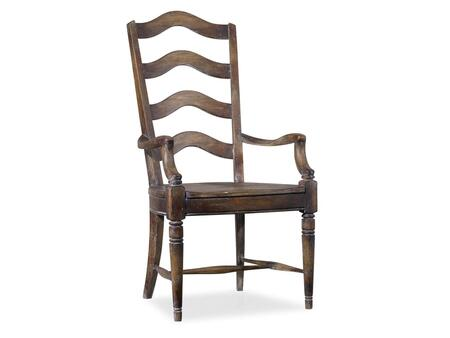 """Hooker Furniture Willow Bend Series 5343-753 46"""" Casual-Style Dining Room Ladderback Chair with Turned Legs, Distressed Detailing and Stretchers in Farmhouse Oak"""