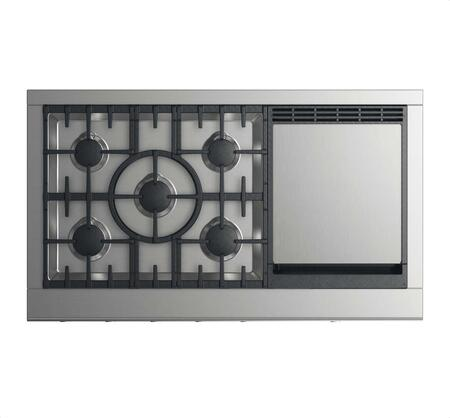"""DCS CPV2-485GD 48"""" Professional Cooktop with 5 Burners, Griddle, Easy to Clean, Sealed Dual Flow Burners, and Halo-Illuminated Cooktop Dials: Stainless Steel"""