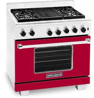 American Range ARR364GRBR Heritage Classic Series Natural Gas Freestanding Range with Sealed Burner Cooktop, 5.6 cu. ft. Primary Oven Capacity, in Red