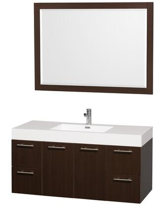 """Wyndham Collection WC-R4100-48-AR Amare 48"""" Sink Vanity with Acrylic-Resin Top, Integrated Square Sink, Matching Mirror, 2 Doors and 4 Drawers in"""