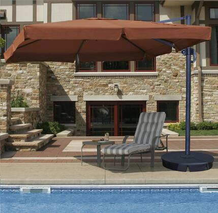 Santorini II Cantilever Umbrella With Valance Opened, Poolside with table and chair