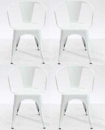EdgeMod EM113WHIX4 Trattoria Series Modern Metal Frame Dining Room Chair