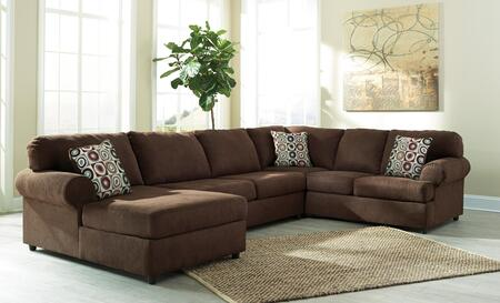 Signature Design by Ashley Jayceon 64904CHALS 3-Piece Sectional Sofa with X Arm Facing Chaise, Armless Loveseat and X Arm Facing Sofa in Java Brown