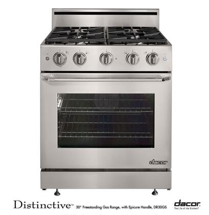 """Dacor DR30GSNGH 30"""" Distinctive Series Gas Freestanding Range with Sealed Burner Cooktop, 4.8 cu. ft. Primary Oven Capacity, in Stainless Steel"""