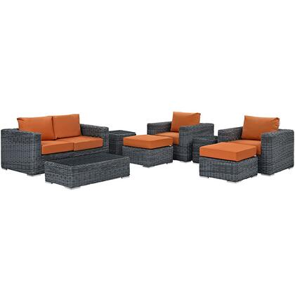 Modway Summon Collection EEI-1894- 8-Piece Outdoor Patio Sunbrella Sectional Set with Loveseat, 2 Armchairs, 2 Ottomans, 2 Side Tables and Coffee Table in