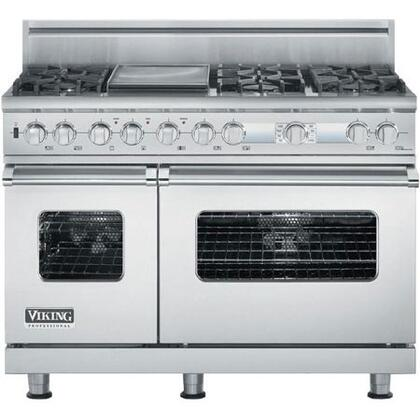 Viking VDSC548T6GSS Professional Custom Series Dual Fuel Freestanding Range with Sealed Burner Cooktop, 4.7 cu. ft. Primary Oven Capacity, in Stainless Steel