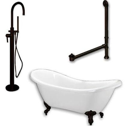 "Cambridge ADES150PKG Acrylic Double Ended Clawfoot Bathtub 68"" x 30"" with no Faucet Drillings and Complete Plumbing Package"