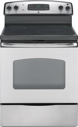 GE JB640SRSS CleanDesign Series Electric Freestanding Range with Smoothtop Cooktop, 5.3 cu. ft. Primary Oven Capacity, Storage in Stainless STeel