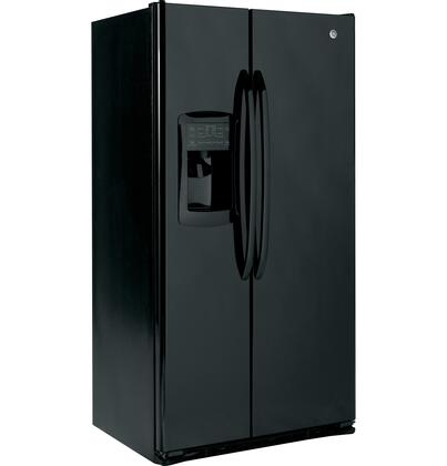 GE GSCF3PGXBB  Side by Side Refrigerator with 22.7 cu. ft. Capacity in Black