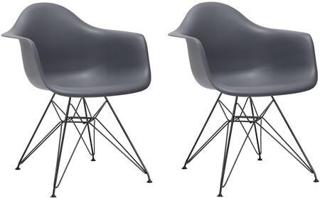 EdgeMod EM111BLKGRYX2 Padget Series Modern Metal Frame Dining Room Chair