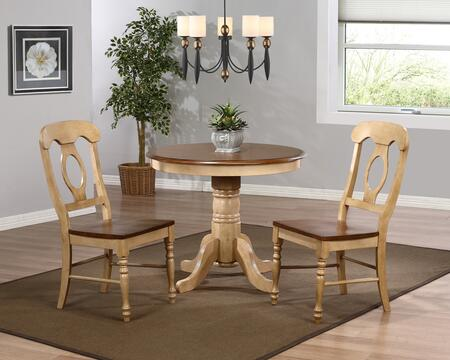 Sunset Trading DLUBR3636C50PW3PC Brook Dining Room Sets
