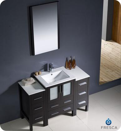 "Fresca Torino Collection FVN62-122412XX-UNS 48"" Modern Bathroom Vanity with 2 Side Cabinets, 2 Frosted Glass Panel Soft Closing Doors and Integrated Sink in"