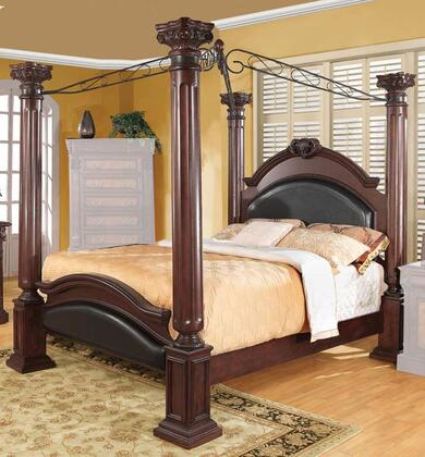 Coaster Grand Prado 202201 Poster Bed with Black Faux Leather Upholstered Panels, Large Posts, Metal Scrolled Top, Pine Solids and Cherry Veneers in Cappuccino Finish