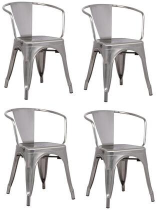 EdgeMod EM113POLX4 Trattoria Series Modern Metal Frame Dining Room Chair